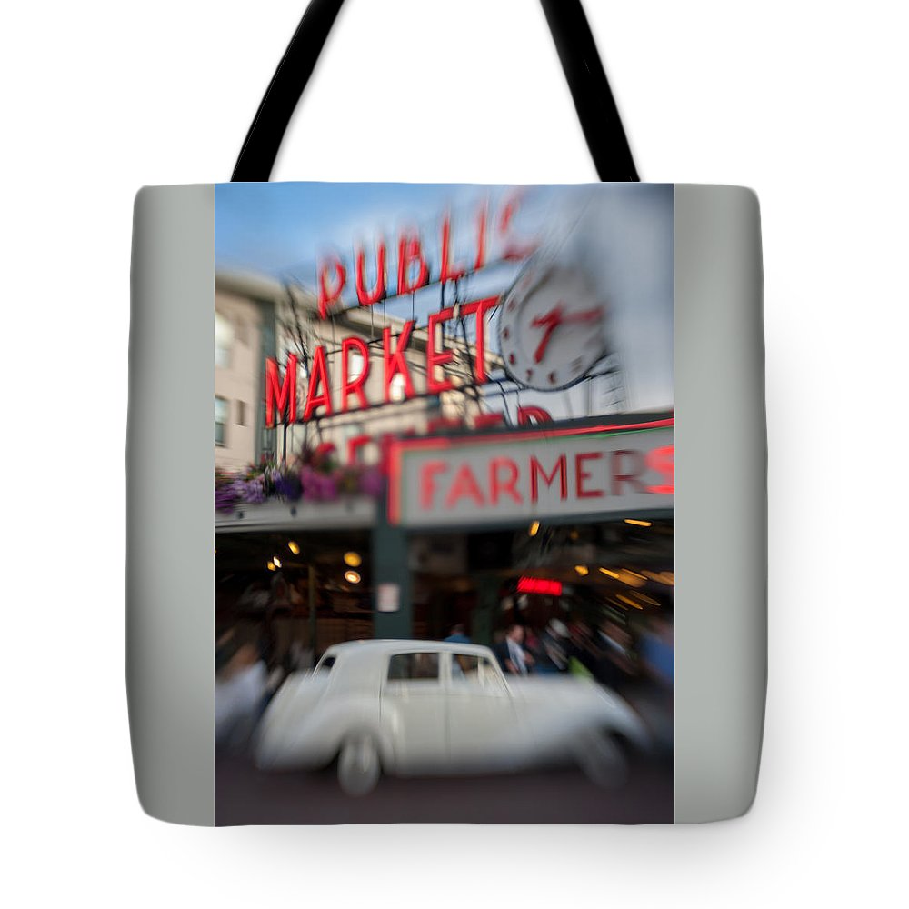Hotel Tote Bag featuring the photograph Pike Place Publice Market Neon Sign And Limo by Scott Campbell