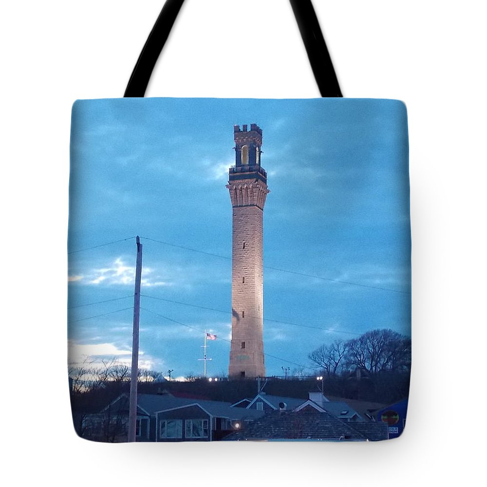 Pilgrim Tote Bag featuring the photograph Pilgrim Tower by Nina Kindred