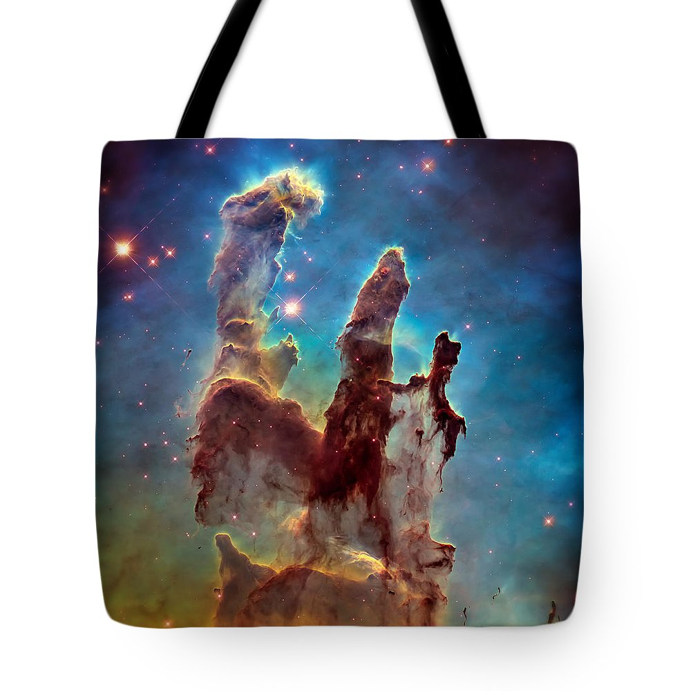 Pillars Of Creation Tote Bag featuring the photograph Pillars Of Creation In High Definition - Eagle Nebula by Jennifer Rondinelli Reilly - Fine Art Photography