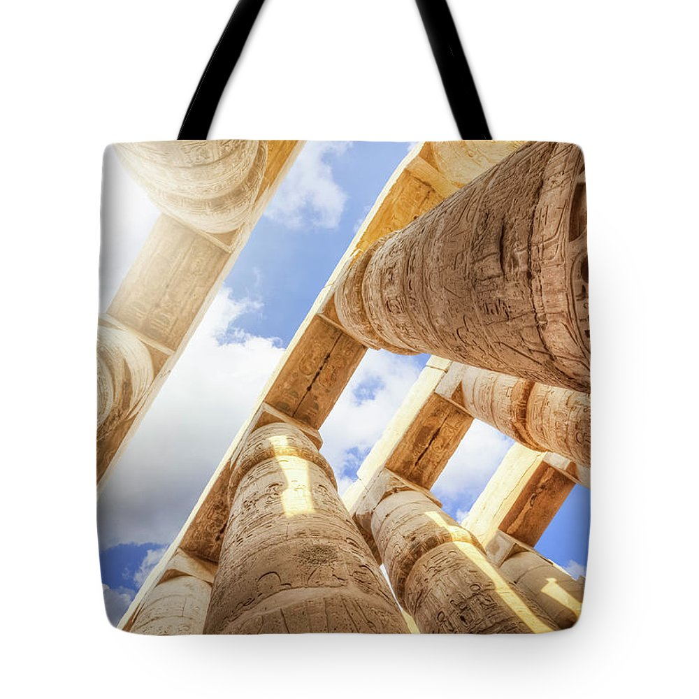 Ancient History Tote Bag featuring the photograph Pillars Of The Great Hypostyle Hall by Cinoby