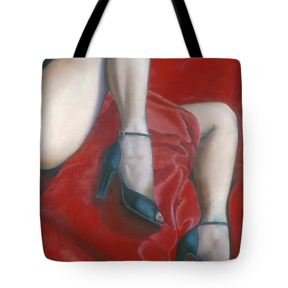 Red Tote Bag featuring the painting Pillow by Mary Ann Leitch