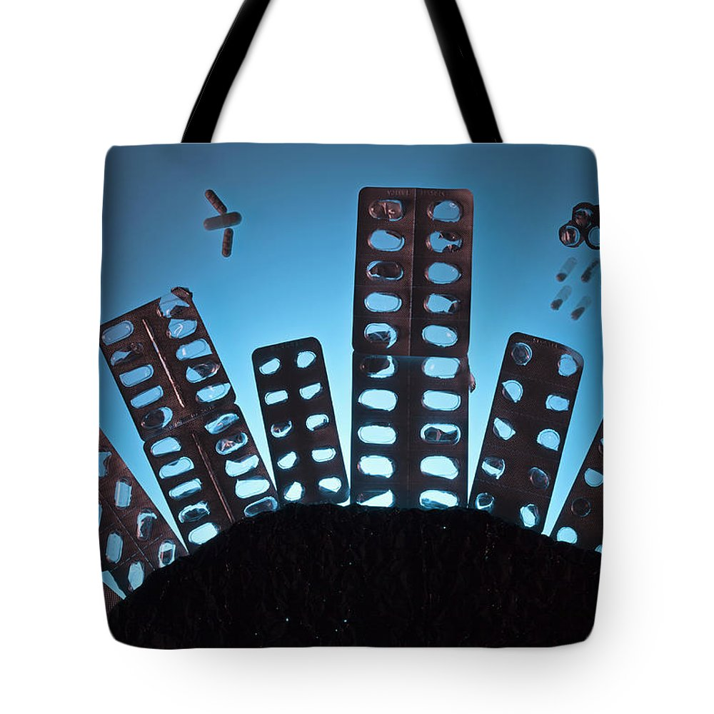 Shadow Tote Bag featuring the photograph Pills And Blister Packs Arranged To by Fstop Images - Larry Washburn