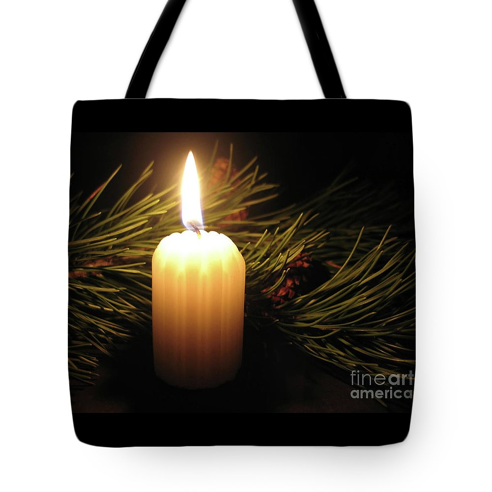 Candle Tote Bag featuring the photograph Pine Bough And Candle by Ann Horn