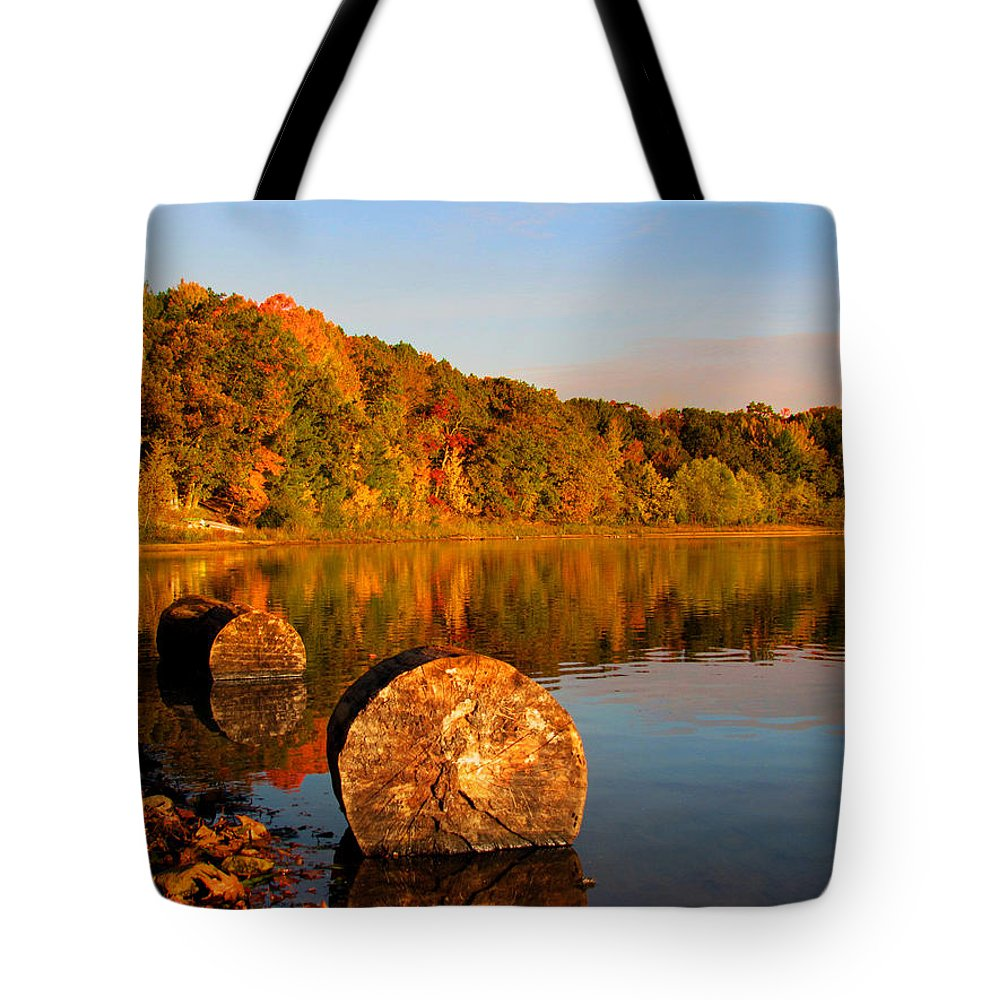 Pine Lake Tote Bag featuring the photograph Pine Lake Reflection 3 by David T Wilkinson