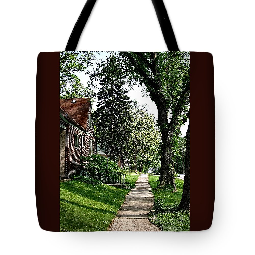 Road Summer Outdoors Trees Green Sidewalk Pine Tree Brick House Leaves Grass Blue Sky Walk Walking Scenic Landscape Branches Scenic Pine Tree Shadows Sunlight Frank J Casella Usa Homewood Illinoiis Tote Bag featuring the photograph Pine Road by Frank J Casella