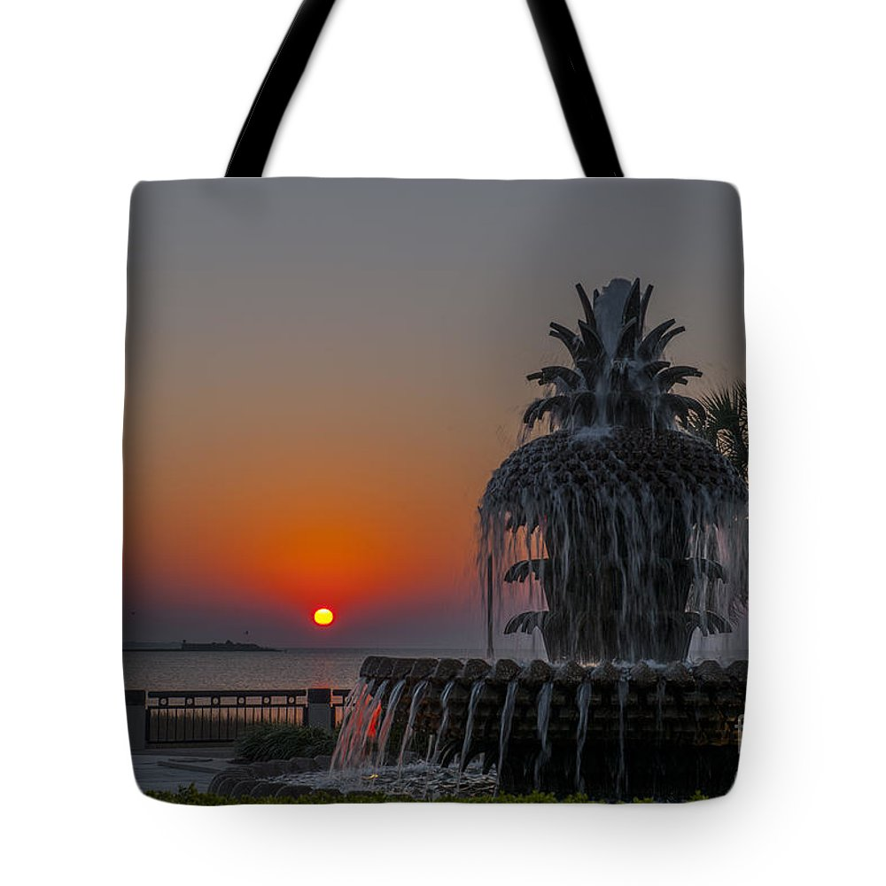 Pineapple Fountain At Waterfront Park In Downtown Charleston Sc Tote Bag featuring the photograph Charleston Harbor Sunrise by Dale Powell
