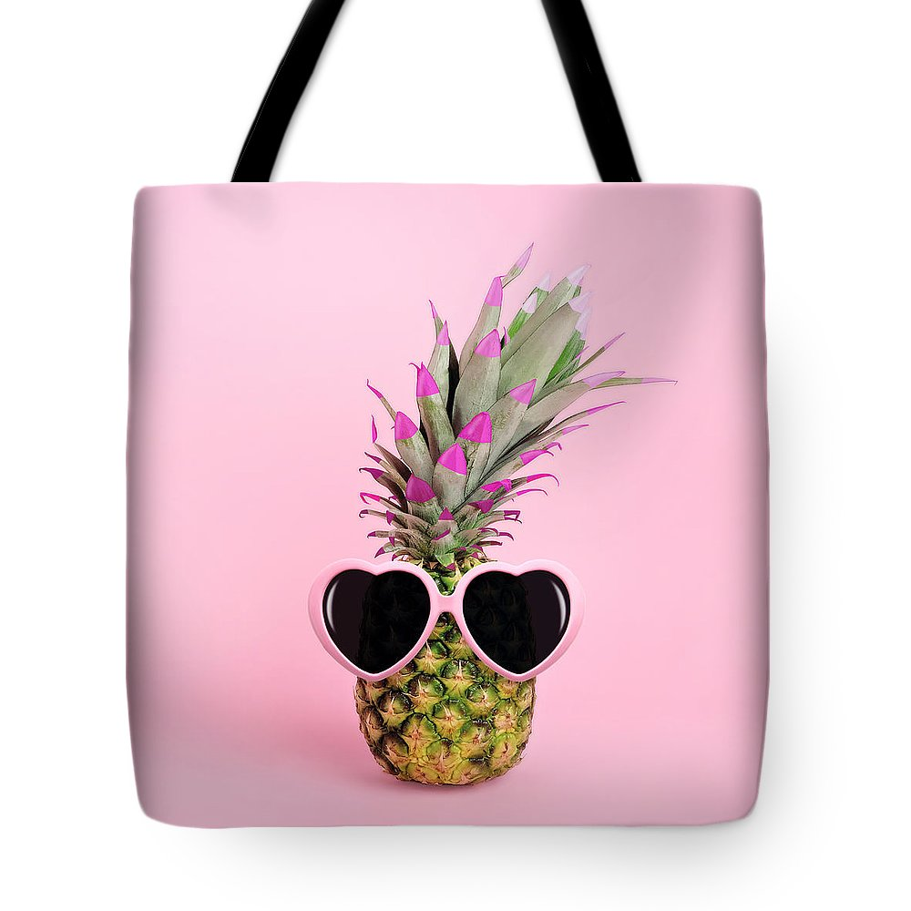 Food Tote Bag featuring the photograph Pineapple Wearing Sunglasses by Juj Winn