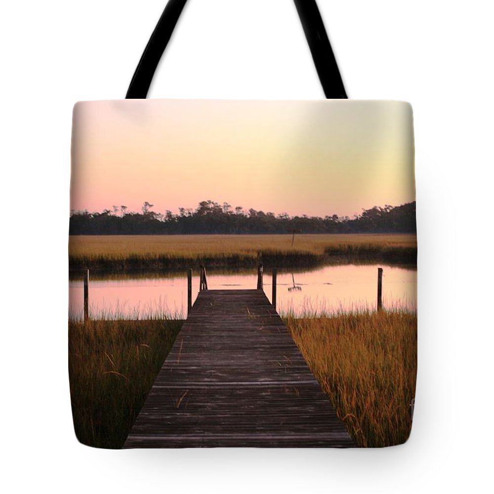 Pink Tote Bag featuring the photograph Pink And Orange Morning On The Marsh by Nadine Rippelmeyer