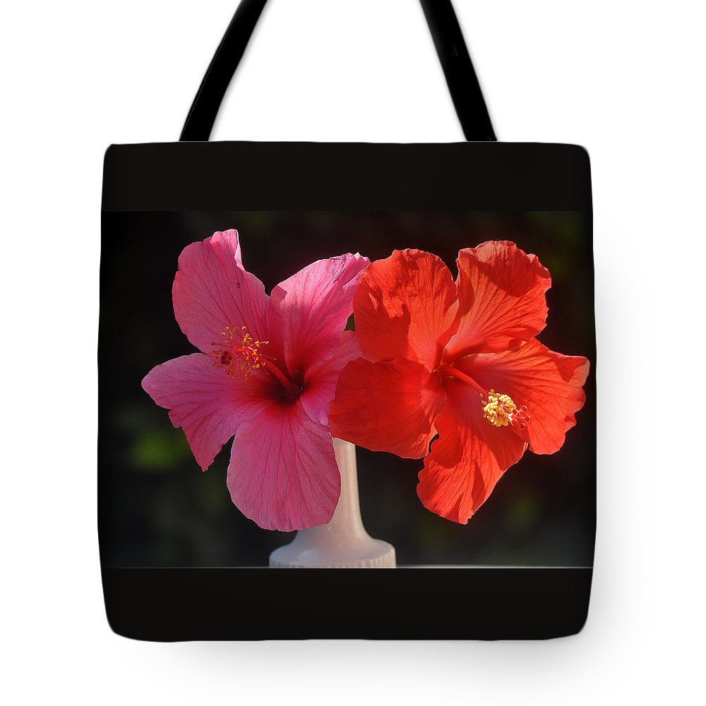 Flowers Tote Bag featuring the photograph Pink And Red Hibiscus by Jay Milo