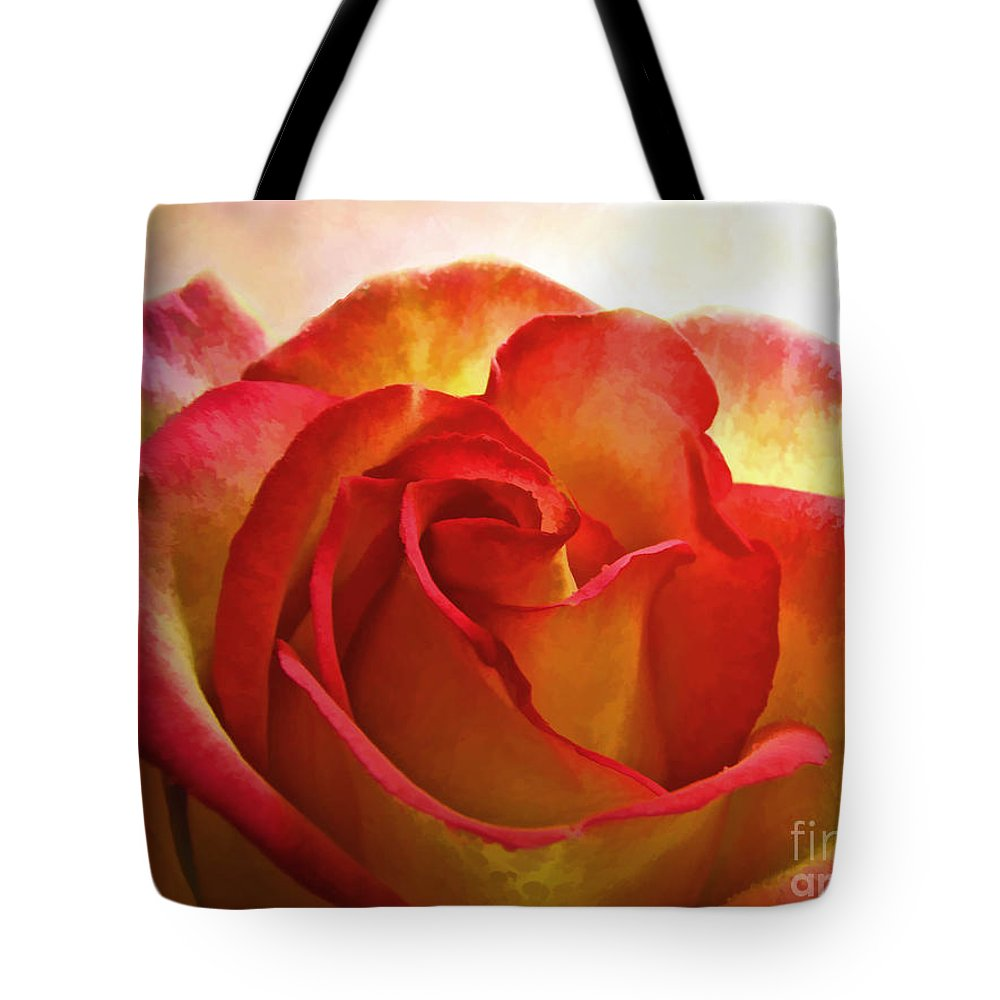 Dew Tote Bag featuring the photograph Pink And Yellow Rose - Digital Paint by Debbie Portwood