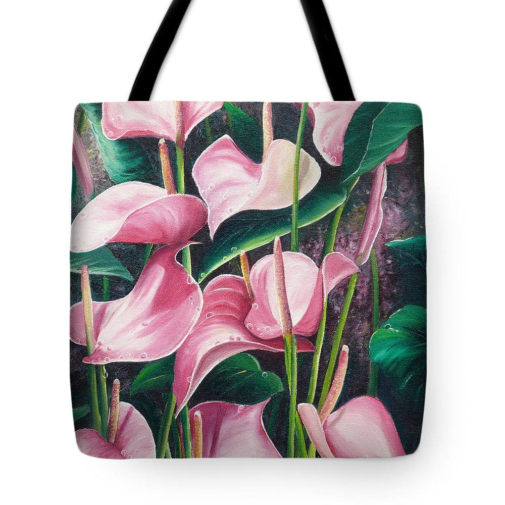 Floral Flowers Lilies Pink Tote Bag featuring the painting Pink Anthuriums by Karin Dawn Kelshall- Best