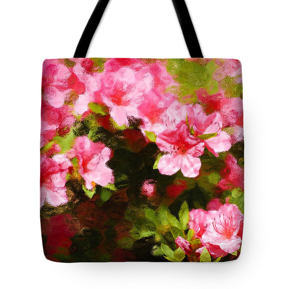 :penny Lisowski Tote Bag featuring the photograph Pink Azealas by Penny Lisowski
