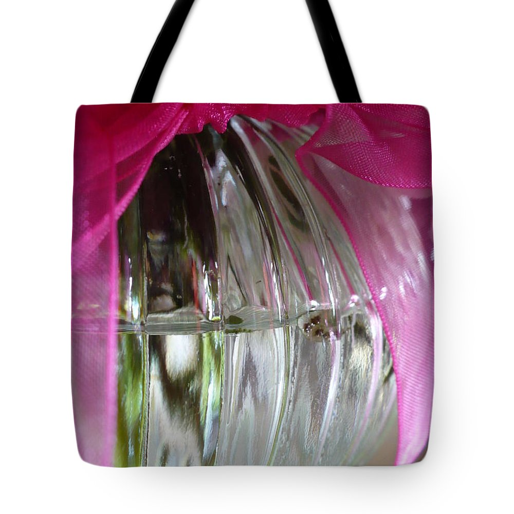 Glass Tote Bag featuring the photograph Pink Bowed Glass by Nicki Bennett
