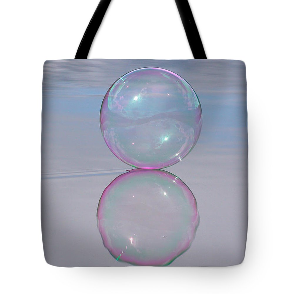 Bubble Tote Bag featuring the photograph Pink Bubble On Grey by Cathie Douglas
