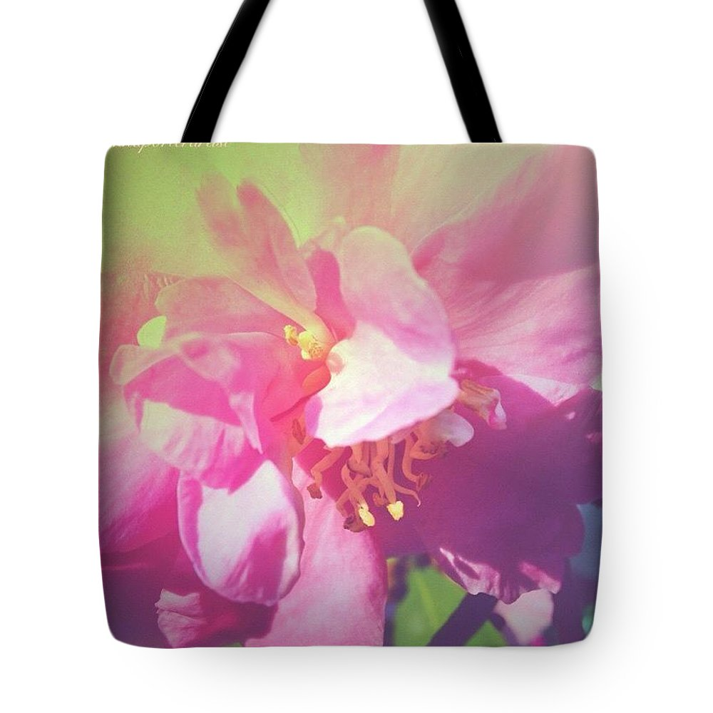 Pink Camellia Vintique Edit Tote Bag featuring the photograph Pink Camellia Vintique Edit by Anna Porter