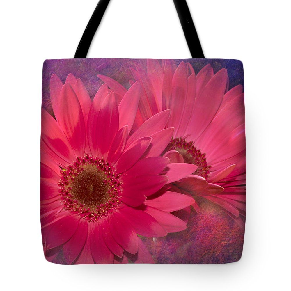 Flower Tote Bag featuring the digital art Pink Daisies Abstract by Phyllis Denton
