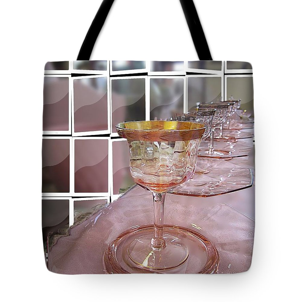 Depression Glasses Tote Bag featuring the digital art Pink Depression Glasses by Kelly Schutz
