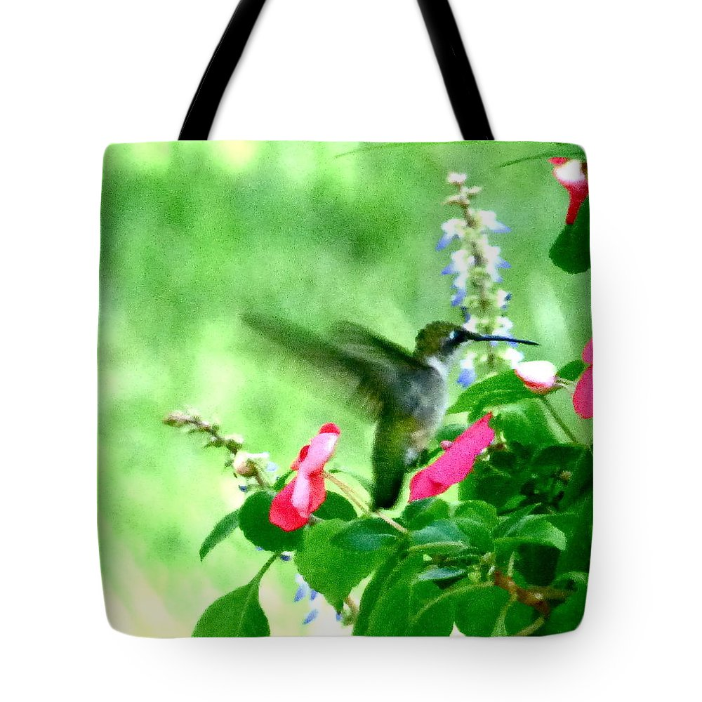 Hummingbird Tote Bag featuring the photograph Pink Enticement by Jean Wright