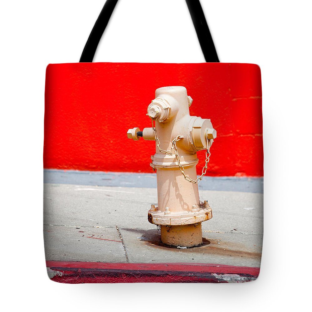 Hydrant Tote Bag featuring the photograph Pink Fire Hydrant by Art Block Collections