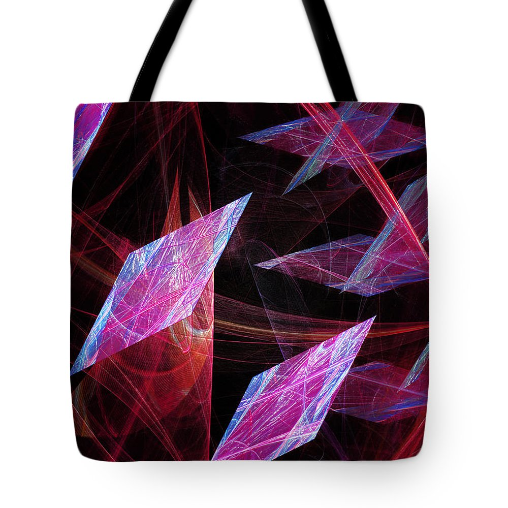 Abstract Tote Bag featuring the digital art Pink Floating Diamonds by Andee Design