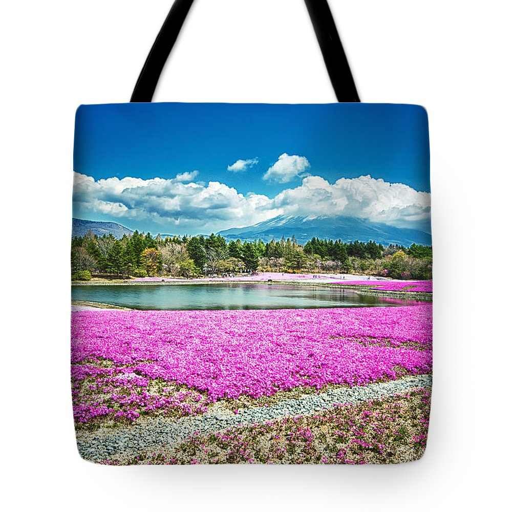 Fuji Tote Bag featuring the photograph Pink Flowers Blue Sky by Jonah Anderson