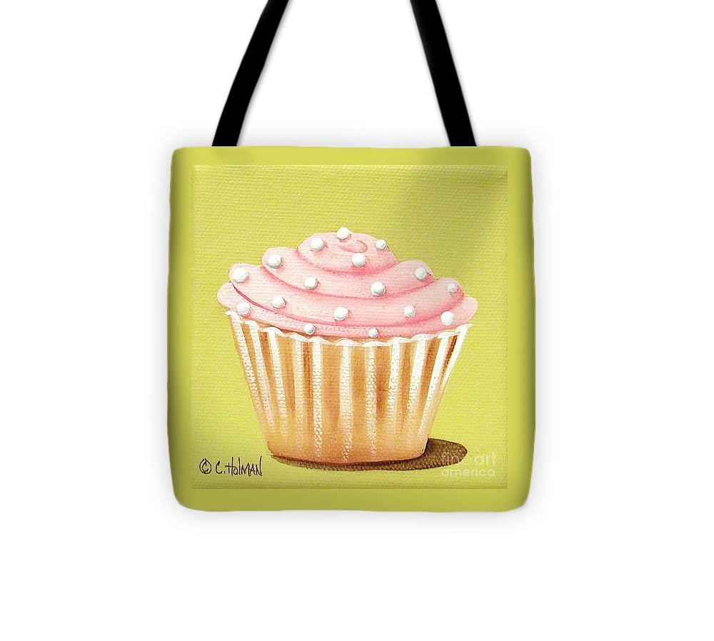 Art Tote Bag featuring the painting Pink Fluff Cupcake by Catherine Holman