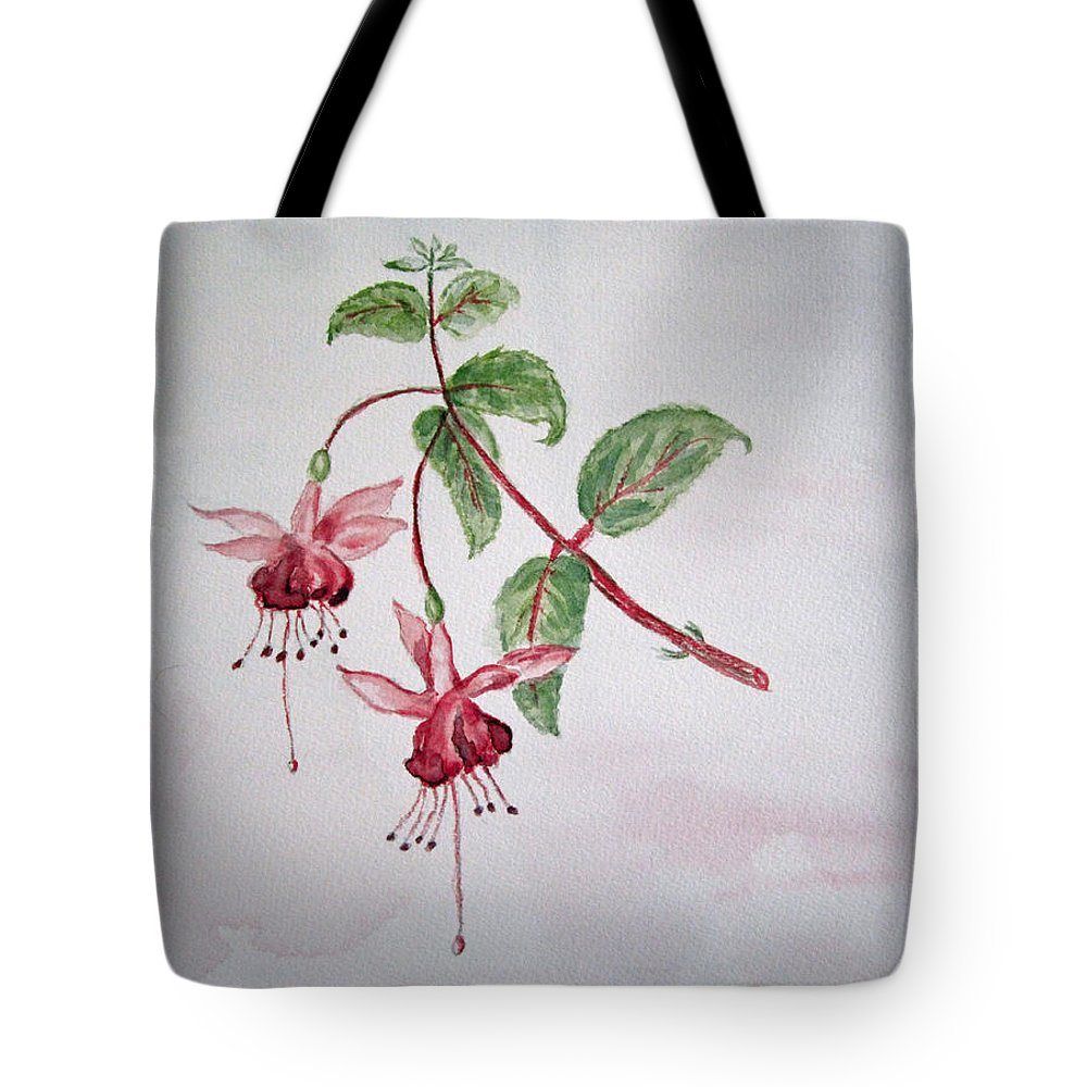 Floral Tote Bag featuring the painting Pink Fuchsia's by Elvira Ingram