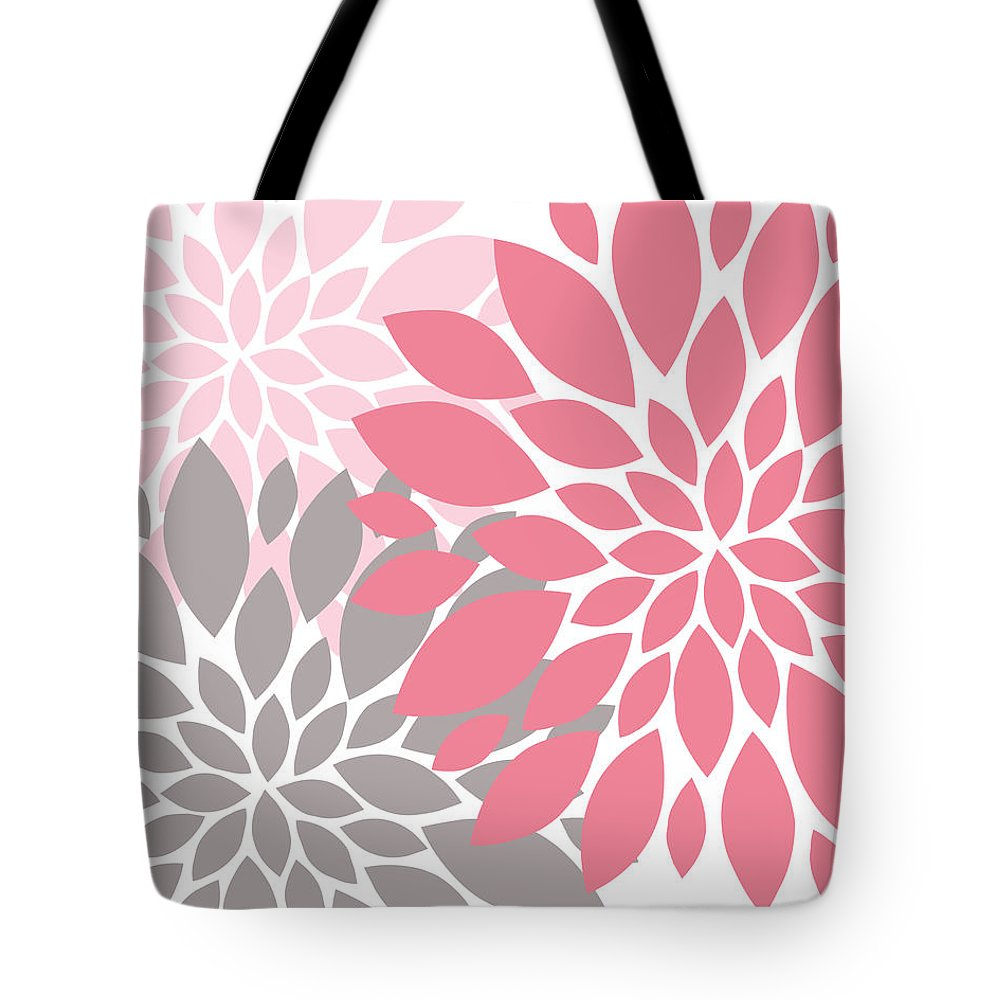Pink Tote Bag featuring the digital art Pink Gray Peony Flowers by Voros Edit