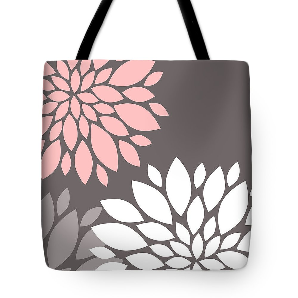 Pink Tote Bag featuring the digital art Pink Grey White Peony Flowers by Voros Edit