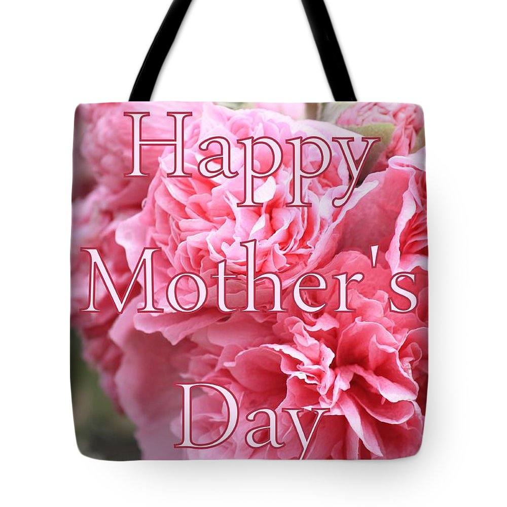 Mother's Day Tote Bag featuring the photograph Pink Hollyhock Mother's Day Card by Carol Groenen