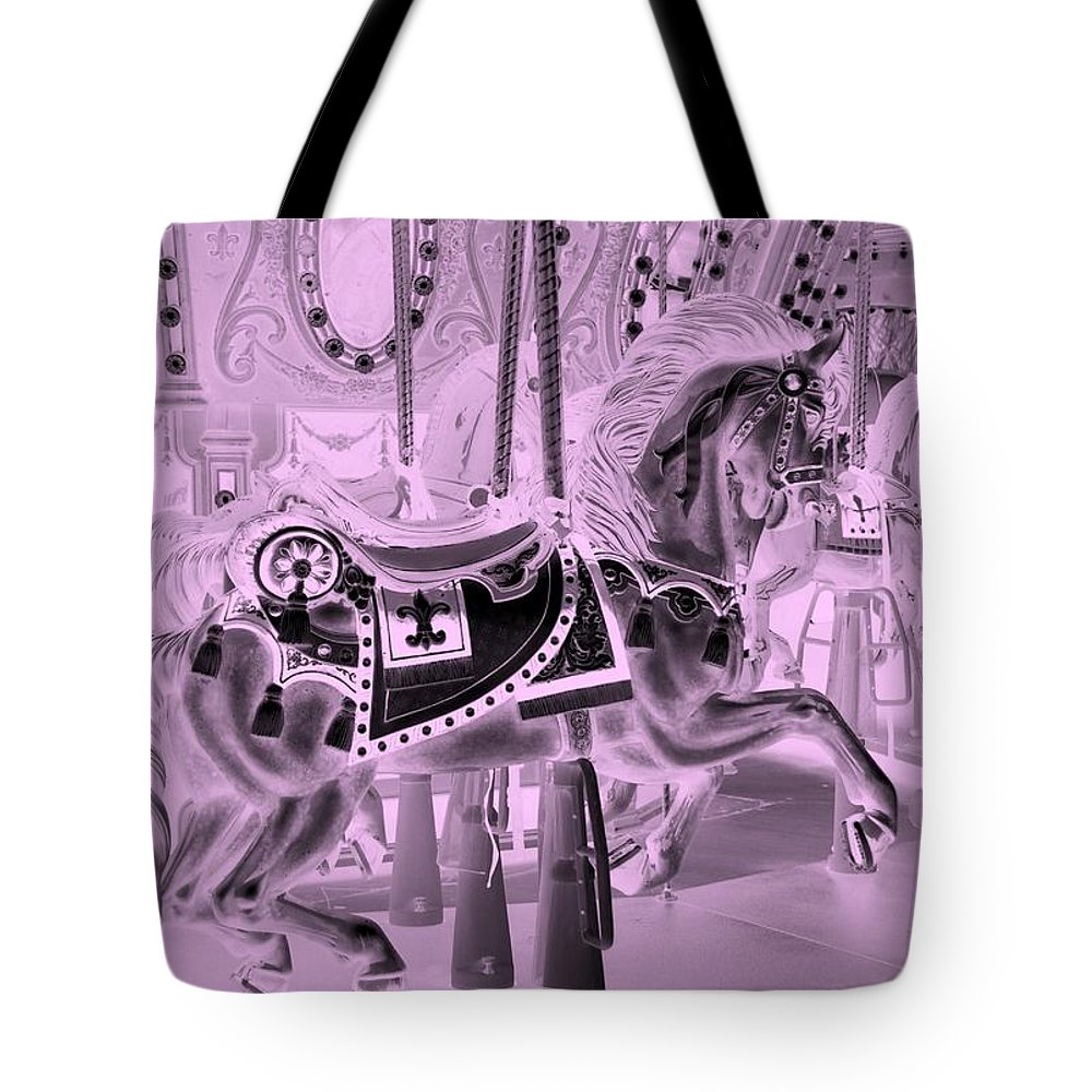 Carousel Tote Bag featuring the photograph Pink Horse by Rob Hans