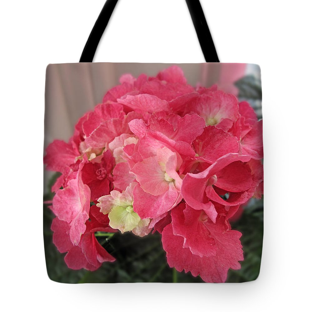 Floral Tote Bag featuring the photograph Pink Hydrangea by Barbara McDevitt