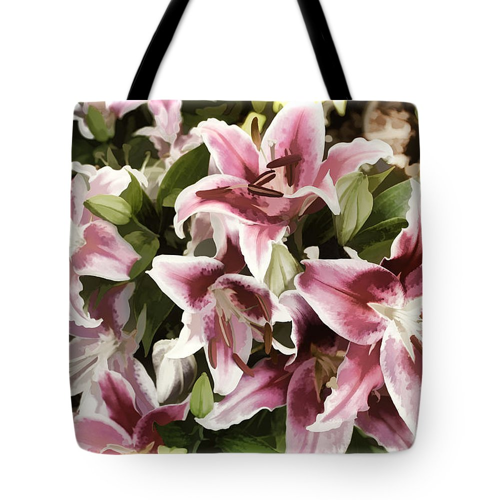 Lily Tote Bag featuring the photograph Pink Lilies I by Sylvia Thornton
