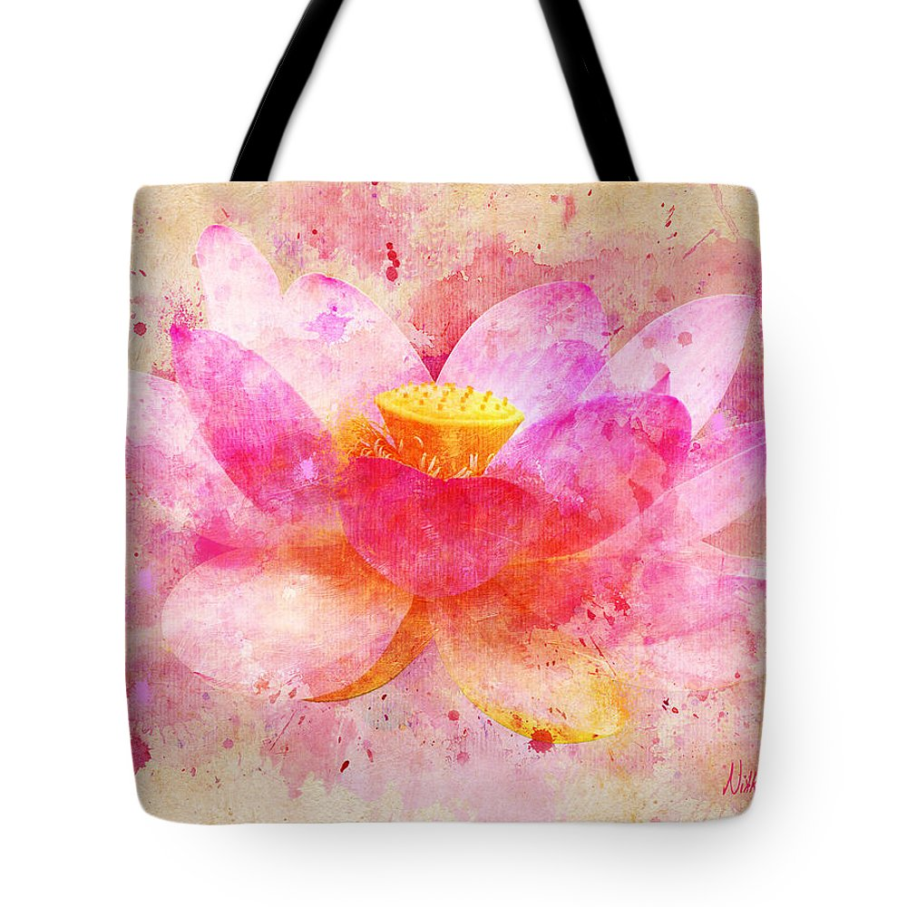 Pink Lotus Flower Abstract Artwork Tote Bag For Sale By Nikki Marie