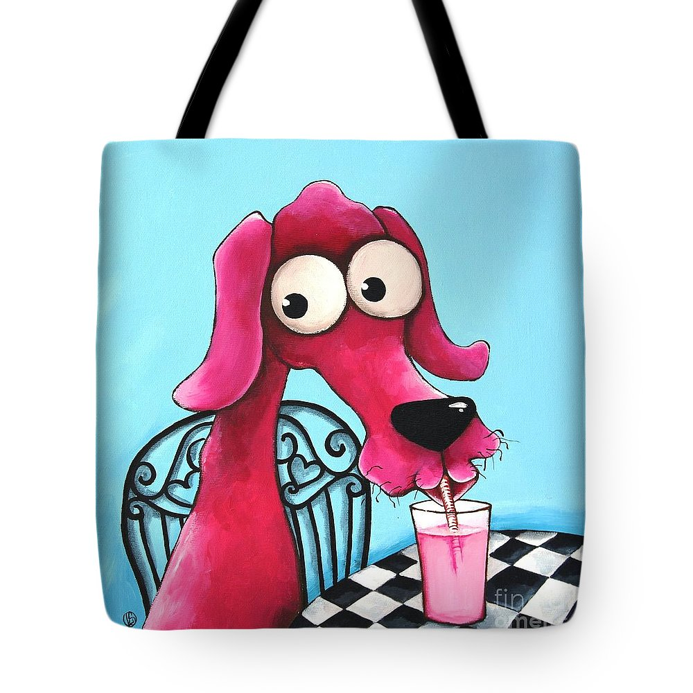 Dog Tote Bag featuring the Pink Milk by Lucia Stewart