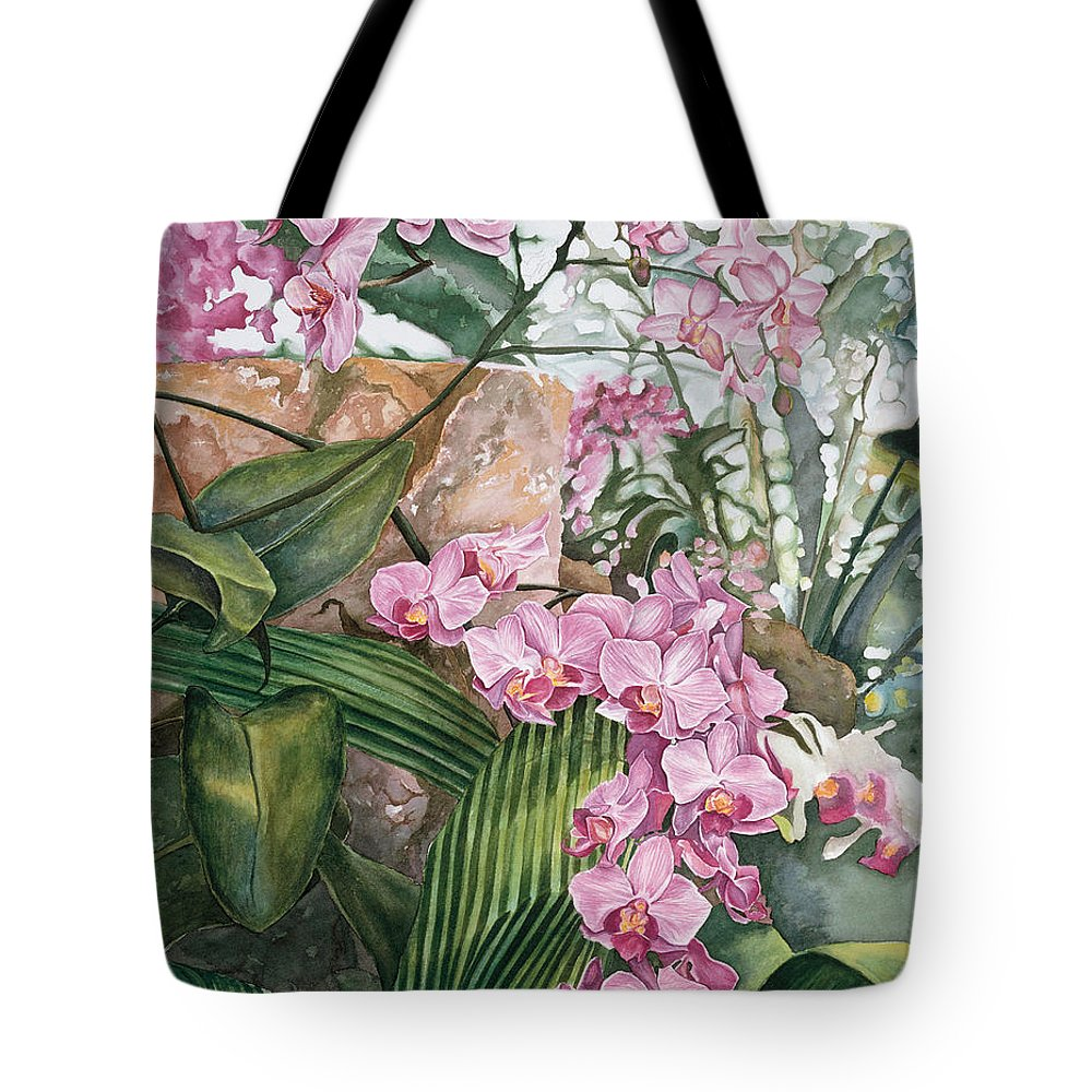 Orchids Tote Bag featuring the painting Pink Orchids by Lisa Prusinski