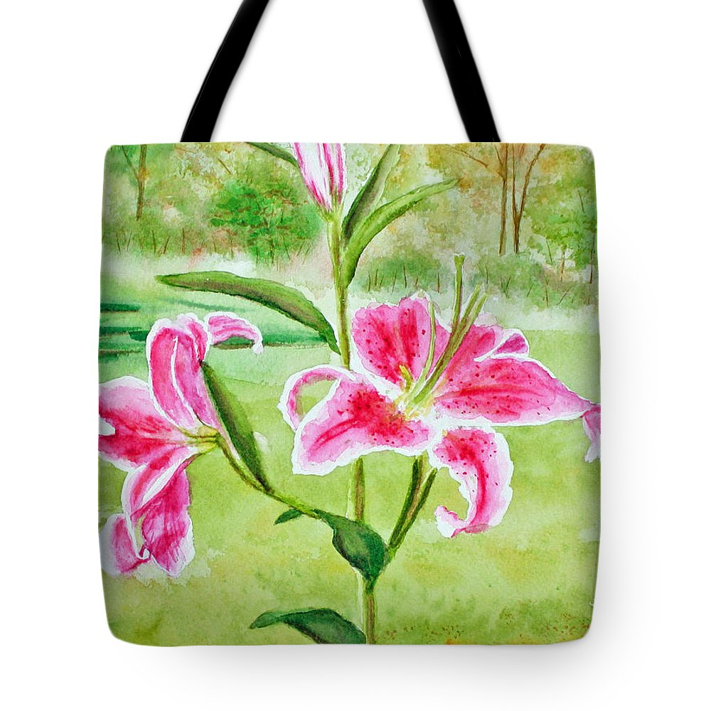 Pink Oriental Lillies Tote Bag featuring the painting Pink Oriental Lillies by Kathryn Duncan