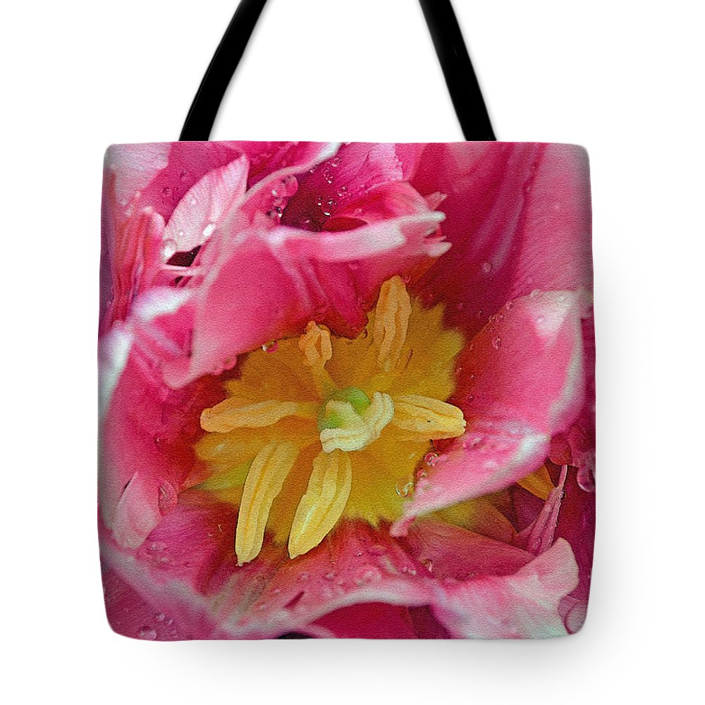 Pink Tote Bag featuring the digital art Pink Peony Tulip With Raindrop by Eva Kaufman