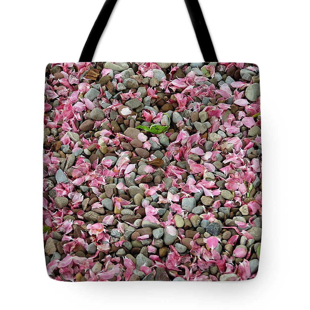Stone Tote Bag featuring the photograph Pink Petals On Stones by Aimee L Maher ALM GALLERY