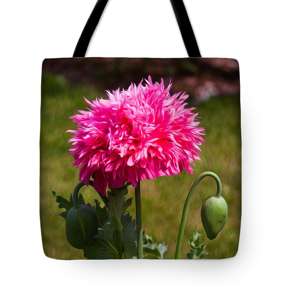 Poppy Tote Bag featuring the painting Pink Poppy by Omaste Witkowski