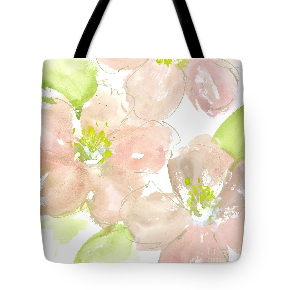 Original And Printed Watercolors Tote Bag featuring the painting Pink Quince by Chris Paschke