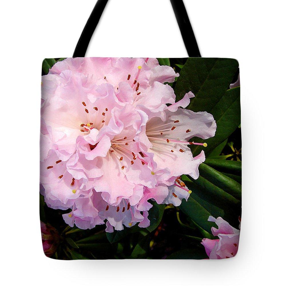 Pink Tote Bag featuring the digital art Pink Rhodies by Gary Olsen-Hasek