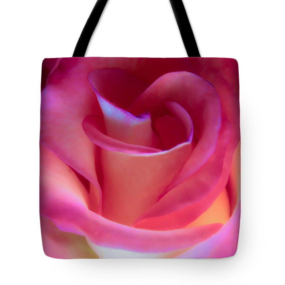 Rose Tote Bag featuring the photograph Pink Rose Pedals by Athena Mckinzie