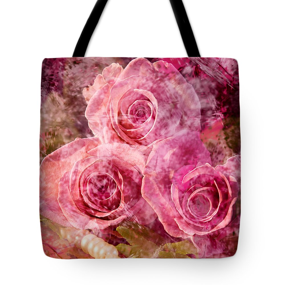 Roses Tote Bag featuring the photograph Pink Roses And Pearls by Phyllis Denton