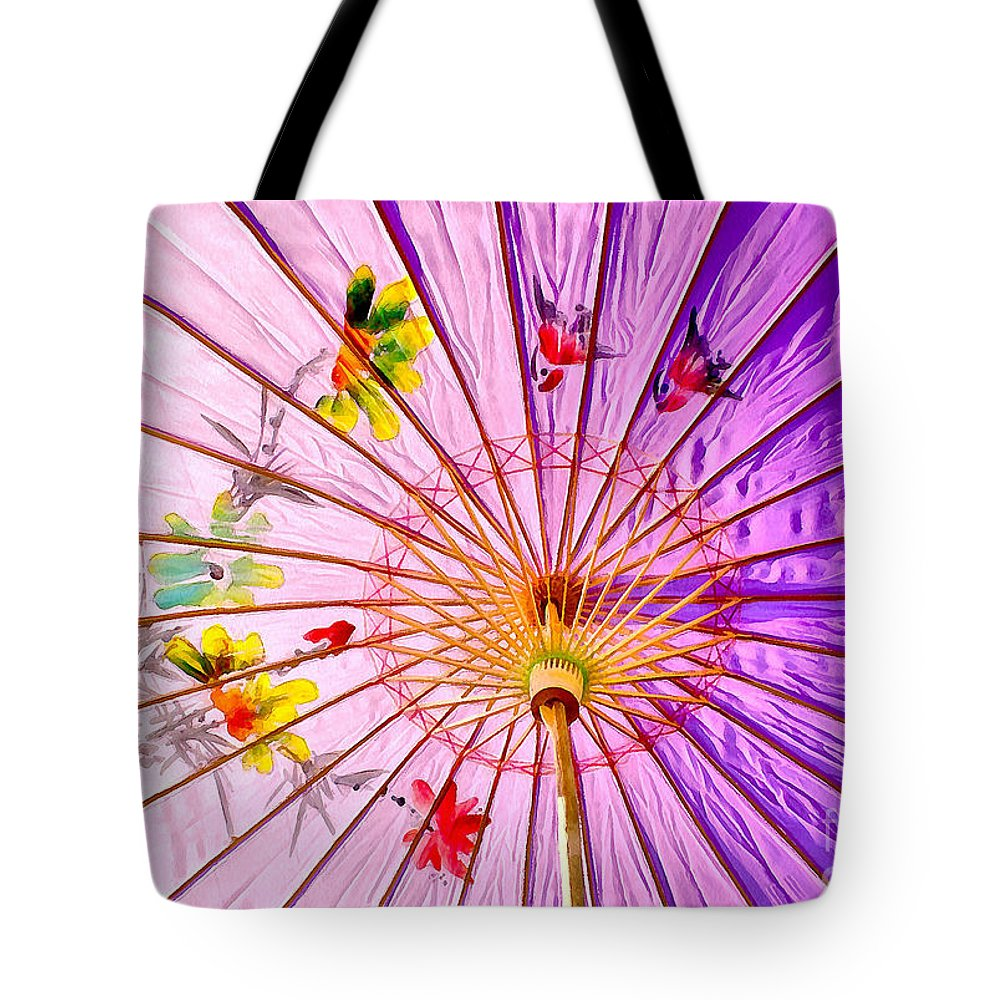 Parasol Tote Bag featuring the photograph Pink Shelter by Krissy Katsimbras