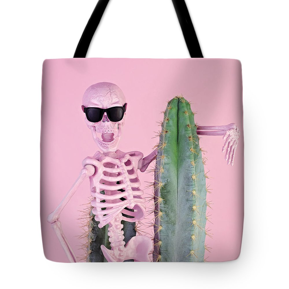 Cool Attitude Tote Bag featuring the photograph Pink Skeleton With Cactus by Juj Winn