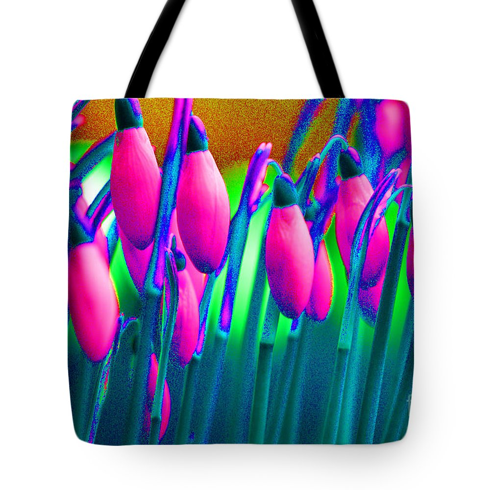 Pink Tote Bag featuring the digital art Pink Snowdrops by Carol Lynch