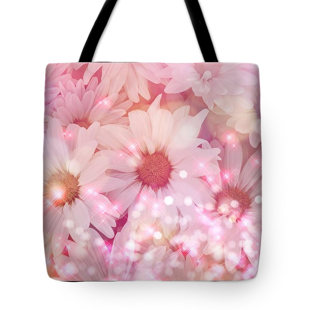 Gerber Daisy Tote Bag featuring the photograph Pink Sparkles by Debra Miller