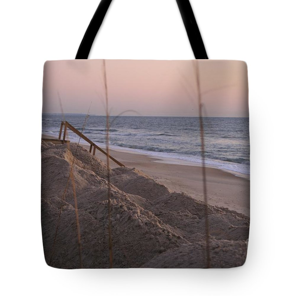Pink Tote Bag featuring the photograph Pink Sunrise On The Beach by Nadine Rippelmeyer