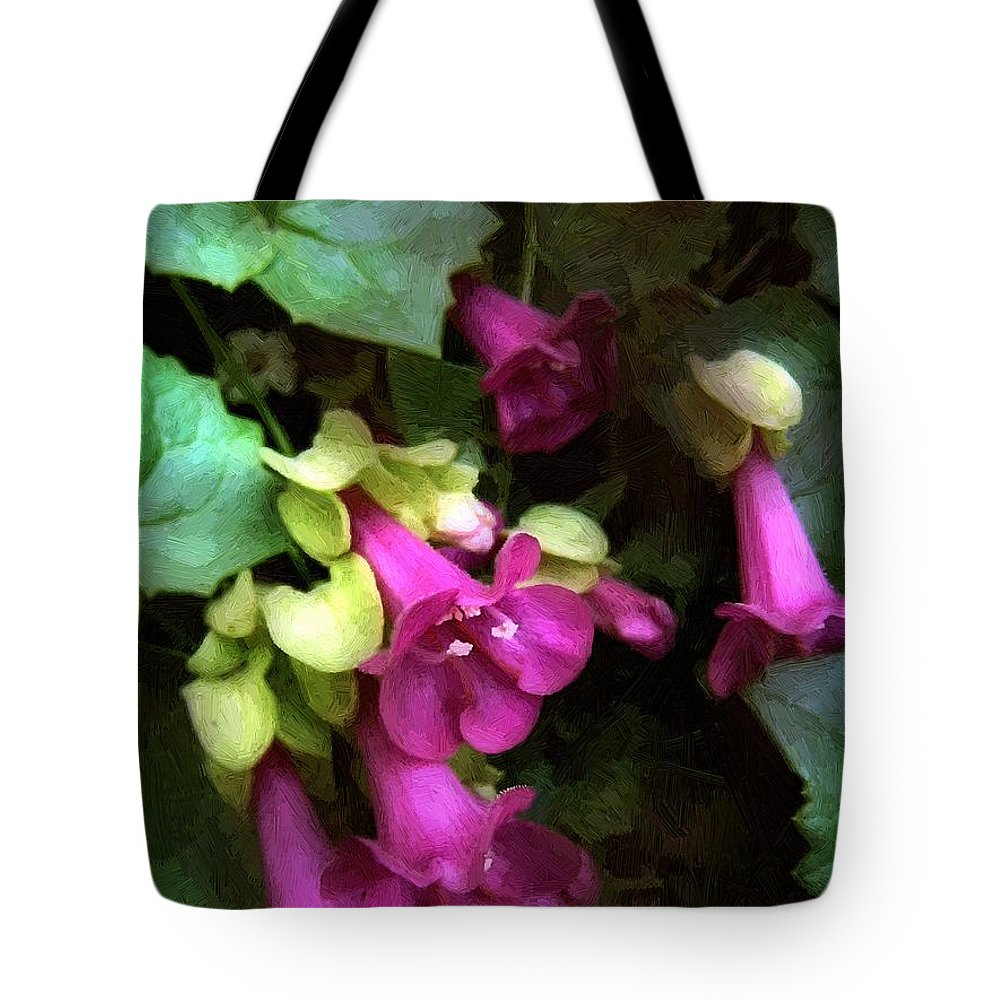 Flowers Tote Bag featuring the painting Pink Trumpets by RC DeWinter